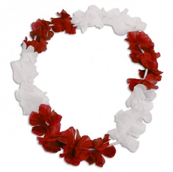 Blumenkette Hawai Rot-Weiss